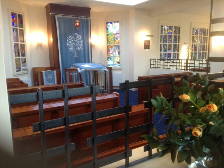 Photograph of the men's section and the Aron Kodesh in the Beit Hamidrash