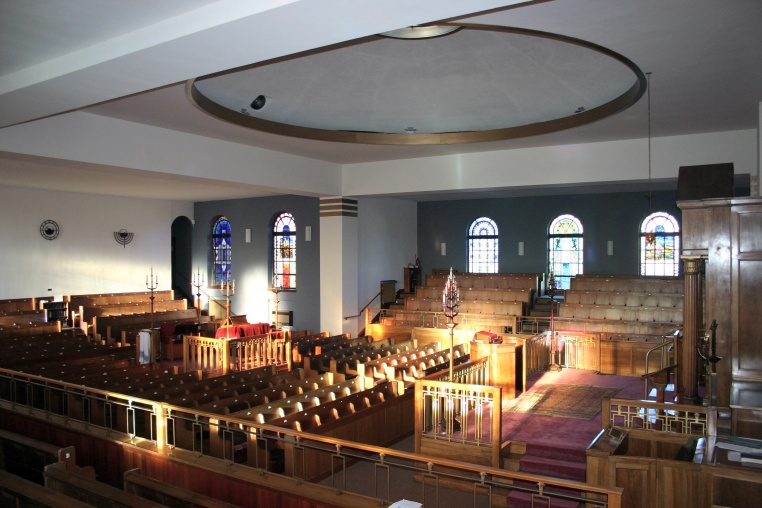 Photograph of the inside of the main Shul