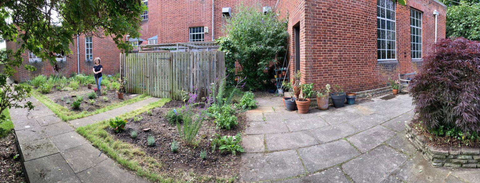 Photograph of EHC back garden with Sukkah